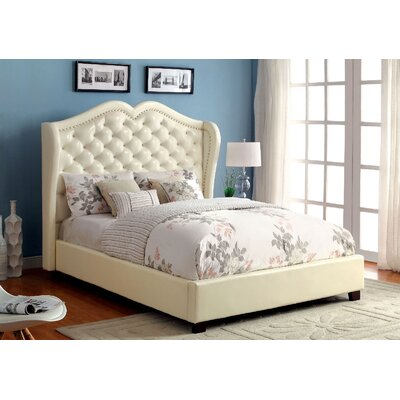 Upholstered Panel Bed Size: California King, Color: Ivory