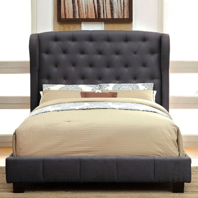 Upholstered Panel Bed Size: California King, Color: Gray