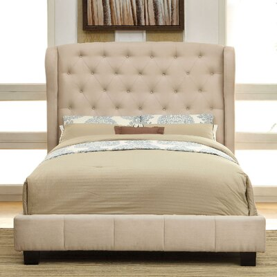 Upholstered Panel Bed Size: Queen, Color: Ivory