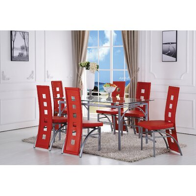 Catherine Dining Set Color: Red