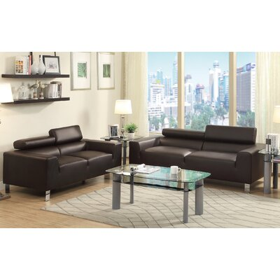 2 Piece Living Room Set Color: Espresso