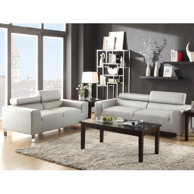 2 Piece Living Room Set Color: Gray