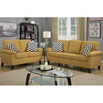 Sirra Sofa and Loveseat Set Color: Yellow