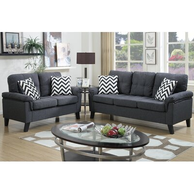 Sirra Sofa and Loveseat Set Color: Dark Gray