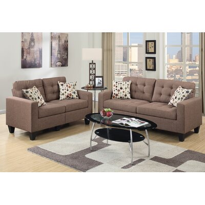 Callanan 2 Piece Living Room Set Color: Light Coffee
