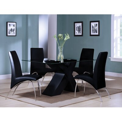 Angelica 5 Piece Dining Set Color: Black