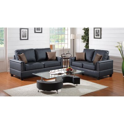 A&J Homes Studio 78AG7AJ3BLK Julie 2 Piece Sofa and Loveseat Set Upholstery