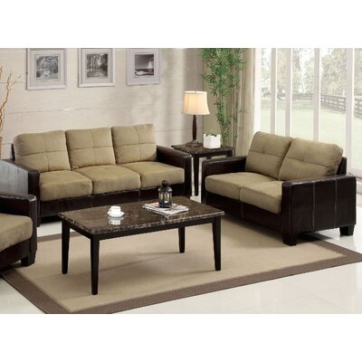 Parma 2 Piece Sofa and Loveseat Set Color: Tan