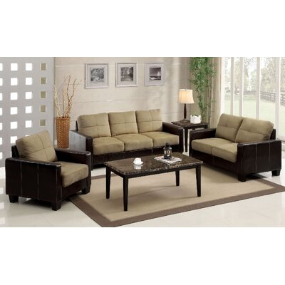 A&J Homes Studio 65WF9A8J-TAN-3PCS Parma 3 Piece Sofa and Loveseat with Chair Set