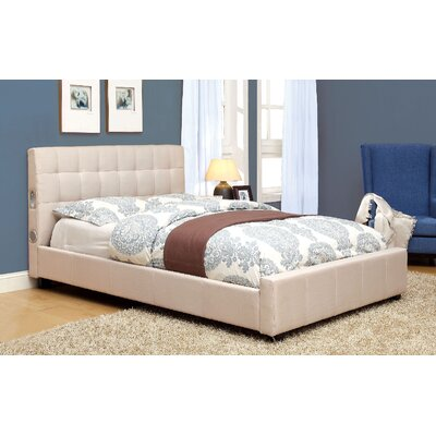 Denise Upholstered Platform Bed Size: California King, Finish: Ivory