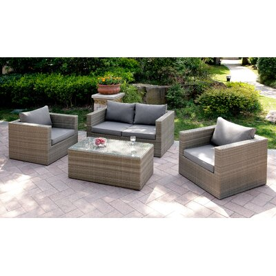 4 Piece Deep Seating Group Finish: Gray