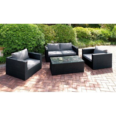 4 Piece Deep Seating Group Finish: Dark Gray