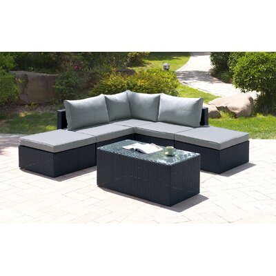 6 Piece Deep Seating Group Finish: Black