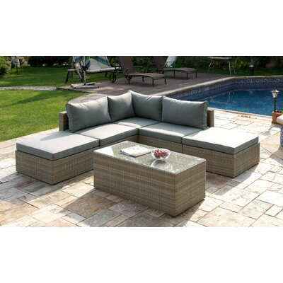 6 Piece Deep Seating Group Finish: Light Brown