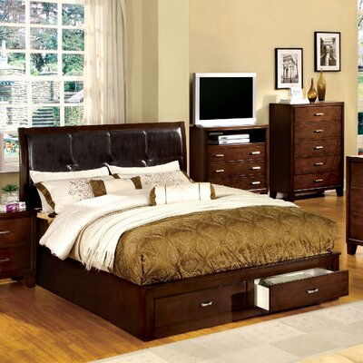 Lucas Upholstered Platform Bed Size: Queen, Color: Dark Walnut