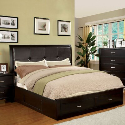 Lucas Upholstered Platform Bed Size: California King, Color: Espresso