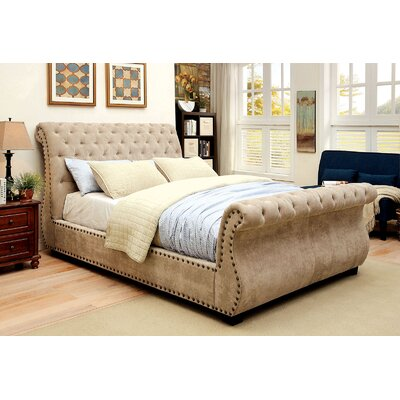 Candi Upholstered Sleigh Bed Size: European King, Color: Mocha