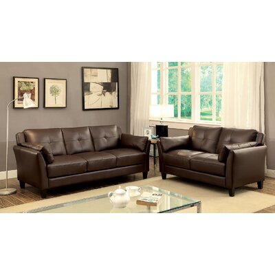Newport Sofa and Loveseat Set Color: Brown