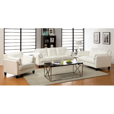 Newport 3 Piece Living Room Set Color: White