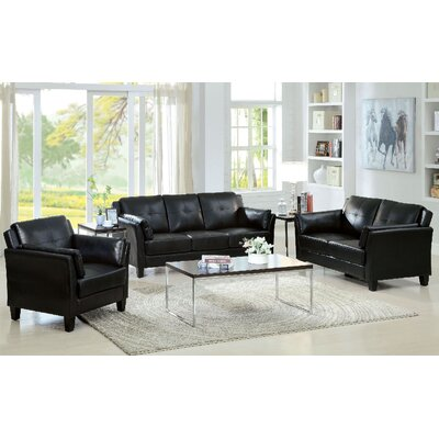 Newport 3 Piece Living Room Set Color: Black