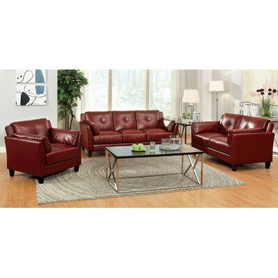 Newport 3 Piece Living Room Set Color: Red