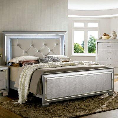 A&J Homes Studio Mina Upholstered Platform Bed - Upholstery: California King, Upholstery: Silver