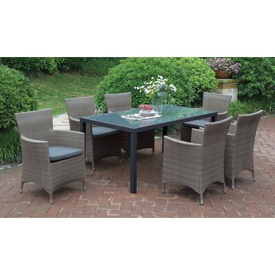 Rica 7 Piece Dining Set with Cushions Finish: Gray