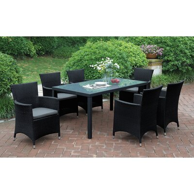 Rica 7 Piece Dining Set with Cushions Finish: Black