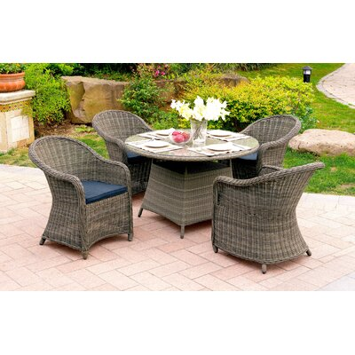 Masden 5 Piece Dining Set with Cushions Finish: Gray