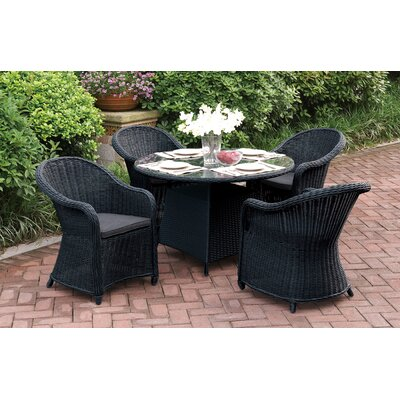 Masden 5 Piece Dining Set with Cushions Finish: Black