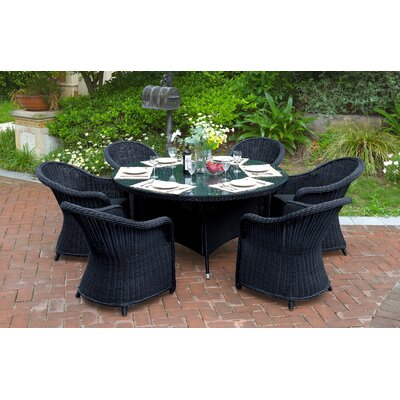 Masden 7 Piece Dining Set with Cushions Finish: Black