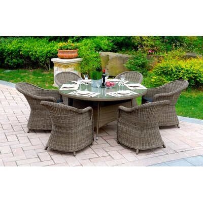 Masden 7 Piece Dining Set with Cushions Finish: Gray
