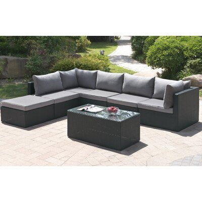 7 Piece Deep Seating Group with Cushion Finish: Dark Gray