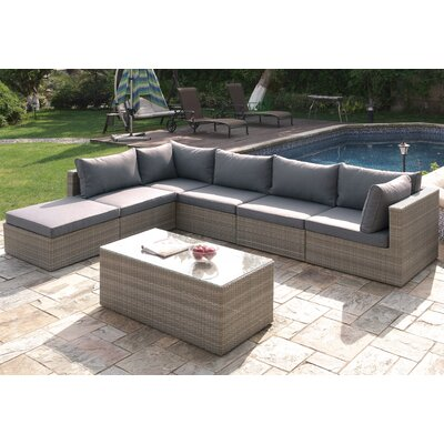 7 Piece Deep Seating Group with Cushion Finish: Light Brown