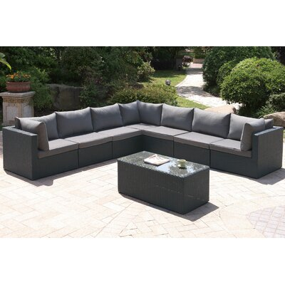 8 Piece Deep Seating Group with Cushion Finish: Dark Gray
