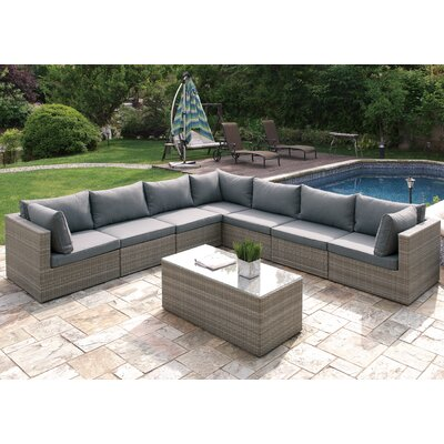 8 Piece Deep Seating Group with Cushion Finish: Light Gray