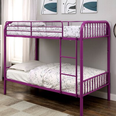 Cadee Twin over Twin Bunk Bed Color: Purple