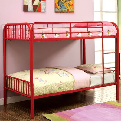 Cadee Twin over Twin Bunk Bed Color: Red