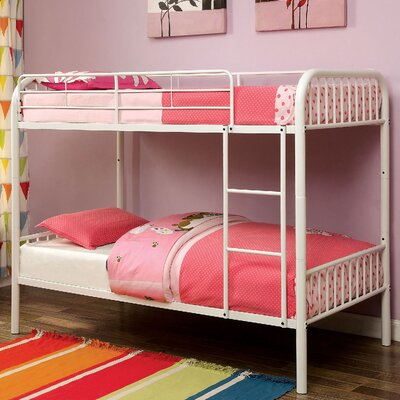 Cadee Twin Over Twin Bunk Bed Color: White