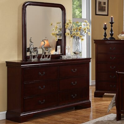 Venice 6 Drawer Dresser with Mirror Color: Brown