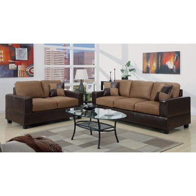 A&J Homes Studio 7WF5A9J2BRN Redondo 2 Piece Sofa and Loveseat Set