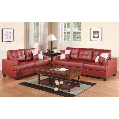 Biola 2 Piece Sofa and Loveseat Set Color: Red
