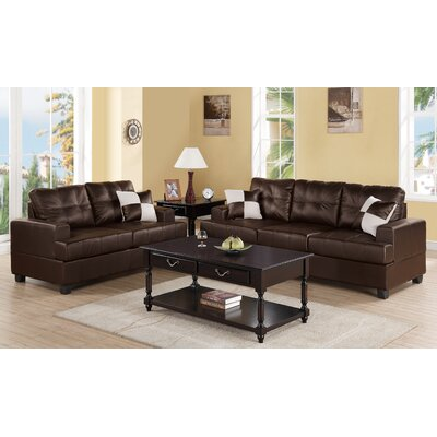 Biola 2 Piece Sofa and Loveseat Set Color: Brown