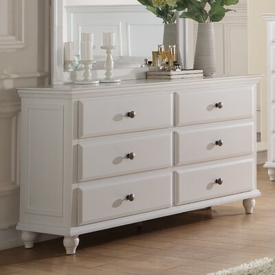 Laguna 6 Drawer Double Dresser Color: White