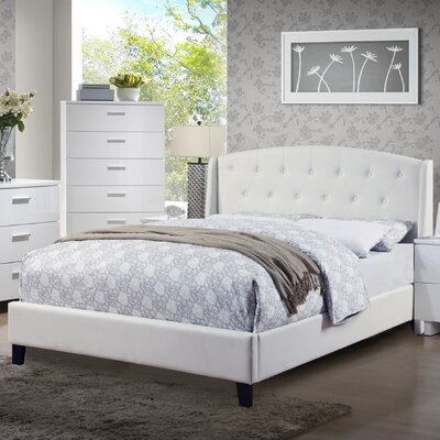 Teemo Upholstered Platform Bed Size: King, Color: White