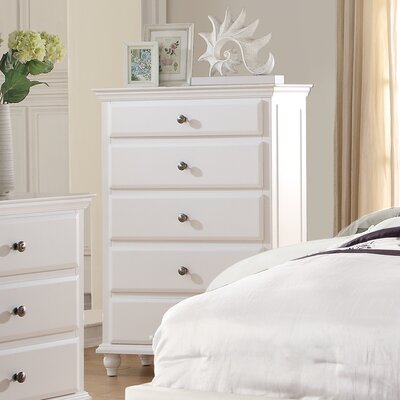 Laguna 5 Drawer Chest Color: White