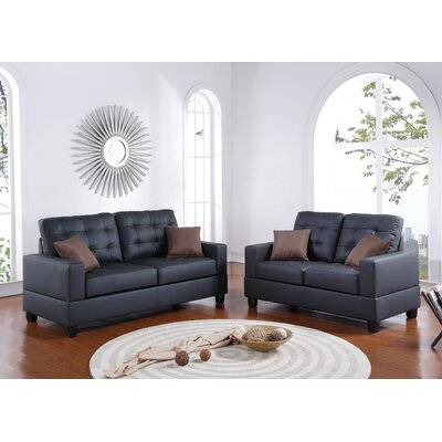Maria Sofa and Loveseat Set Color: Black