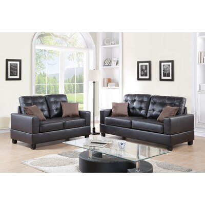 Maria Sofa and Loveseat Set Color: Espresso