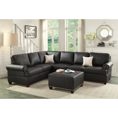 Mario Chaise Sectional Color: Black