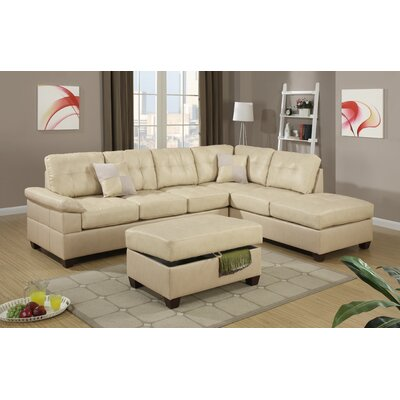 Jessie Reversible Chaise Sectional Color: White
